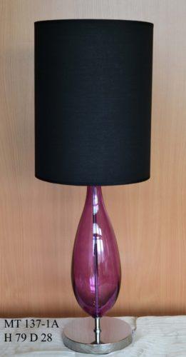 Настольная лампа 137/1А (стекло аметист, хром/черный плафон)
