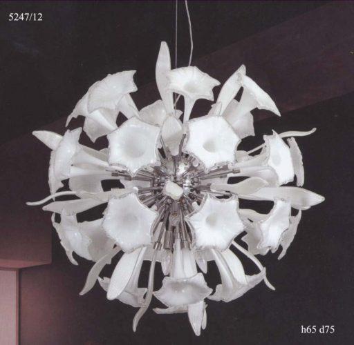 Люстра 5247/12 (цветы/белое стекло)