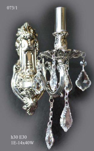Бра классический 073/1 черн. серебро/хрусталь)