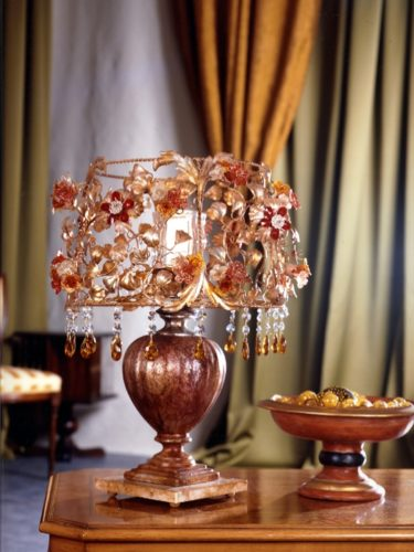 Настольная лампа F783-1 МО (розовое стекло)